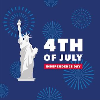Plantilla de independencia de estados unidos con estatua de la libertad