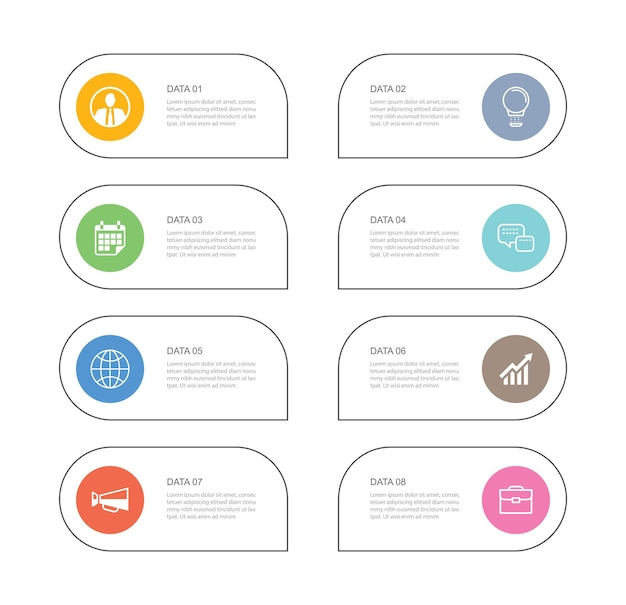 Plantilla de índice de línea fina de papel de pestaña de infografías de 8 datos.