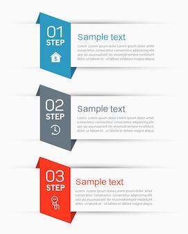 Plantilla de índice de papel de pestaña de infografía con 3 pasos