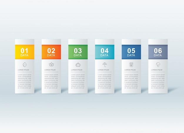 Plantilla de índice de papel de pestaña de infografías de 6 datos.