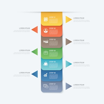 Plantilla de índice de papel de pestaña de línea de tiempo de 7 pasos de datos de datos.