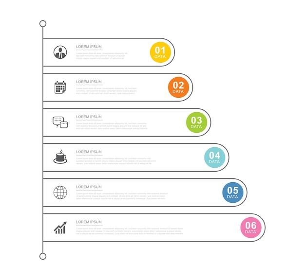 Plantilla de índice de pestaña de infografías de datos con línea delgada.