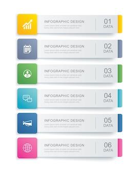 Plantilla de índice de pestaña de infografías de datos.