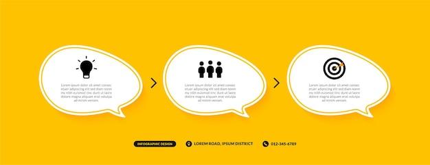 Plantilla de infografía de 3 pasos sobre fondo amarillo, concepto de flujo de trabajo empresarial de burbujas de discurso