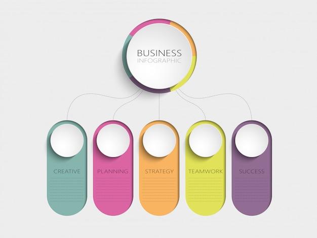 Plantilla de infografía 3d abstracta moderna con cinco pasos para el éxito