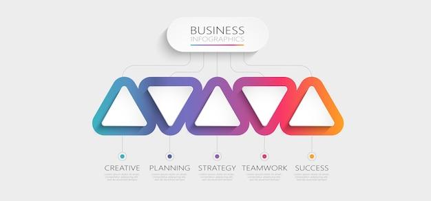 Plantilla de infografía 3d abstracto degradado con opciones para folleto