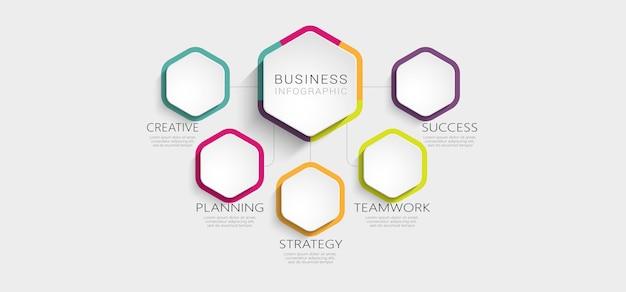 Plantilla de infografía 3d abstracto con opciones para folleto
