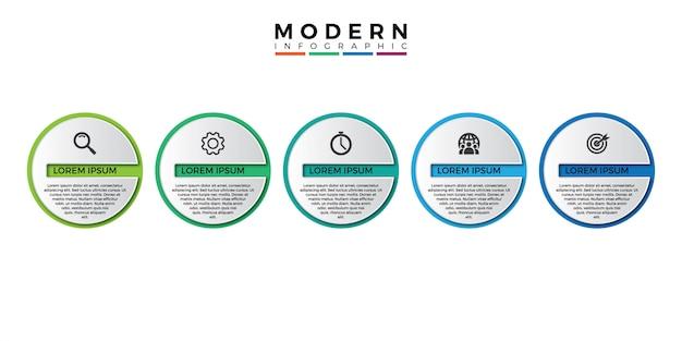 Plantilla de infografía 3d con cinco pasos para el éxito.