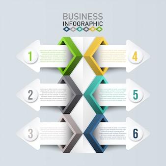 Plantilla de infografía 3d, concepto de negocio con 6 opciones.