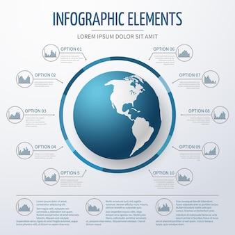 Plantilla de infografía 3d de globo terráqueo.