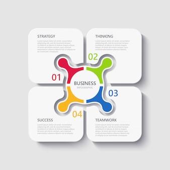 Plantilla de infografía 3d moderna con 4 pasos para el éxito