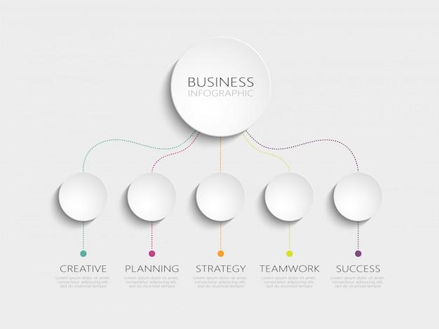 Plantilla de infografía 3d moderna con 5 pasos para el éxito