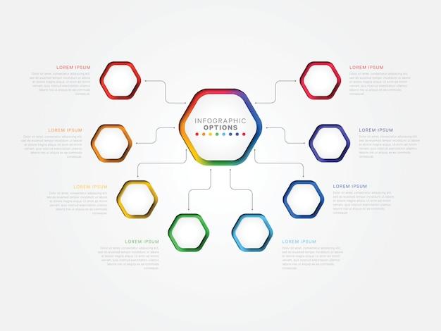 Plantilla de infografía 3d de ocho pasos con elementos hexagonales