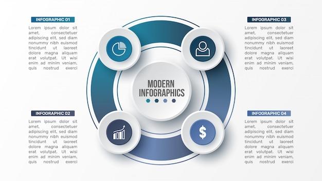 Plantilla de infografía 3d para presentación. visualización de datos comerciales. elementos abstractos. concepto creativo para infografía.