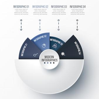 Plantilla de infografía 3d para presentación. visualización de datos empresariales. elementos abstractos concepto creativo para infografía.