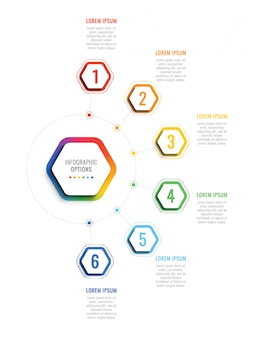 Plantilla de infografía 3d de seis pasos con elementos hexagonales.