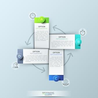 Plantilla de infografía con 4 elementos rectangulares.