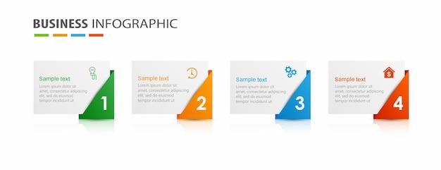 Plantilla de infografía con 4 opciones para negocios.