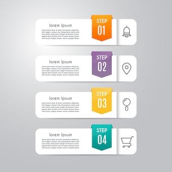 Plantilla de infografía con 4 opciones