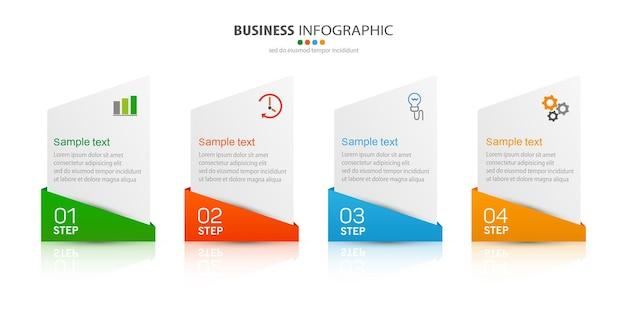 Plantilla de infografía con 4 pasos para empresas.