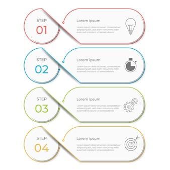 Plantilla de infografía 4 pasos, estilo moderno.