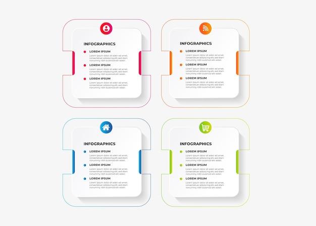 Plantilla de infografía con 4 pasos