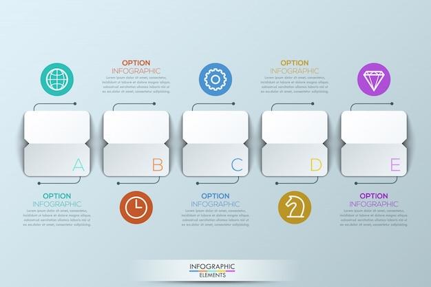 Plantilla de infografía con 5 elementos de papel al cuadrado