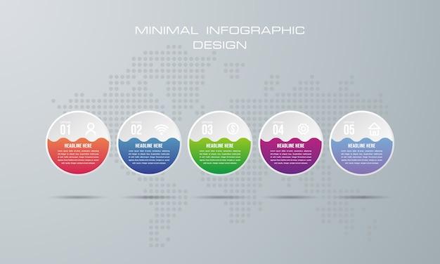 Plantilla de infografía con 5 opciones, flujo de trabajo, tabla de procesos, diseño de infografías de la línea de tiempo