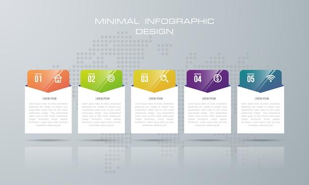 Plantilla de infografía con 5 opciones, flujo de trabajo, tabla de procesos, vector de diseño de infografías de línea de tiempo