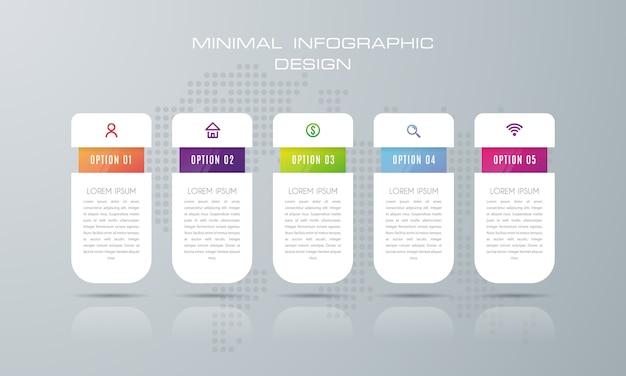 Plantilla de infografía con 5 opciones, flujo de trabajo, tabla de procesos