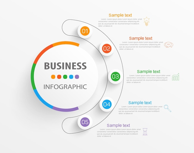 Plantilla de infografía con 5 opciones o pasos para empresas.