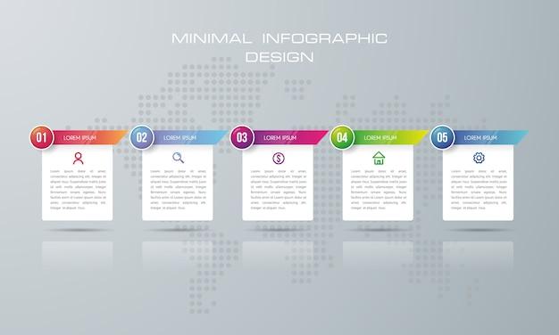 Plantilla de infografía con 5 opciones, vector de diseño de infografías de línea de tiempo - vector