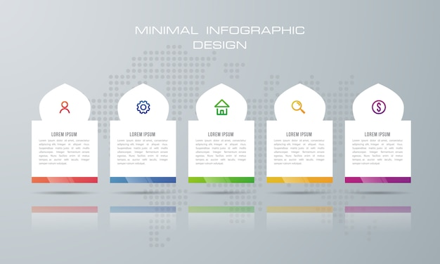 Plantilla de infografía con 5 opciones.