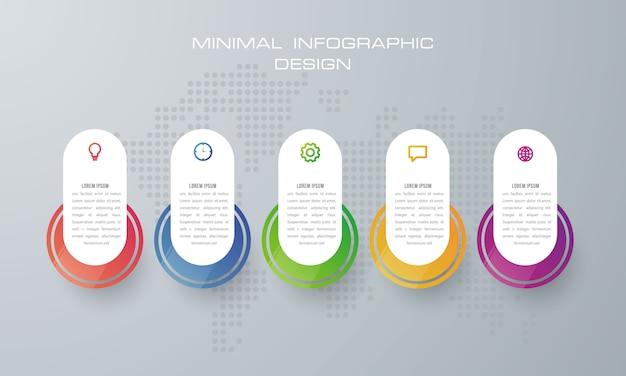 Plantilla de infografía con 5 opciones