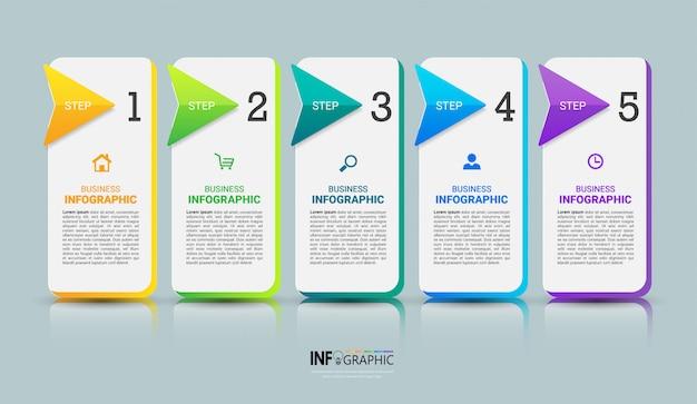Plantilla de infografía de 5 pasos