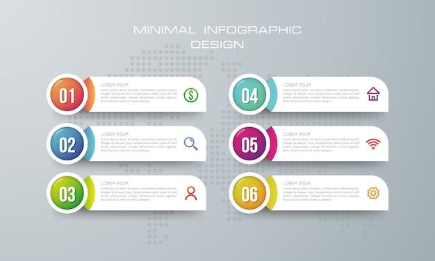 Plantilla de infografía con 6 opciones.