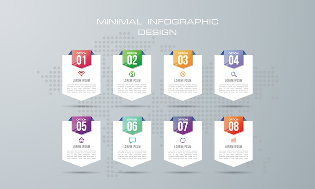 Plantilla de infografía con 8 opciones, flujo de trabajo, tabla de procesos,