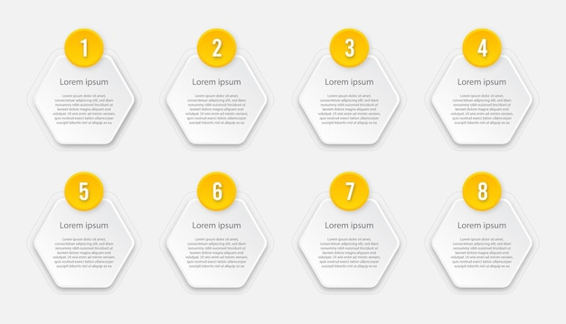 Plantilla de infografía con 8 opciones o pasos.