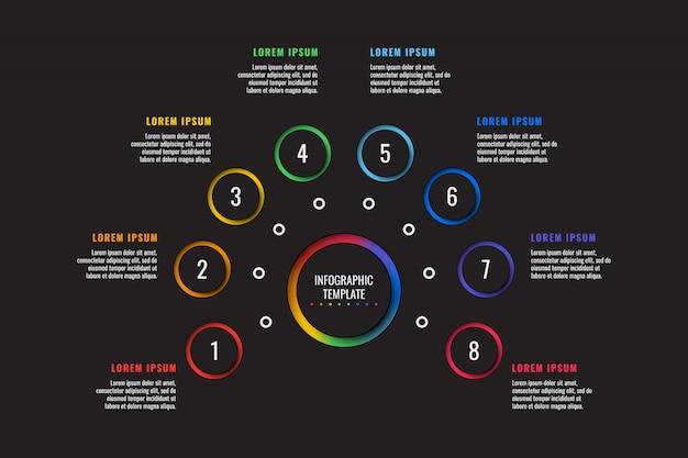 Plantilla de infografía de 8 pasos con elementos de corte de papel redondo sobre fondo negro