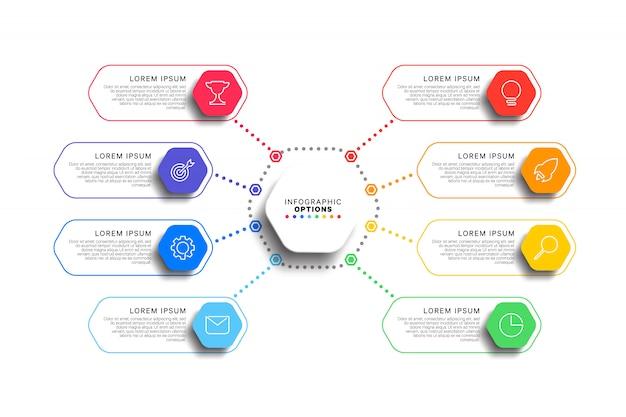 Plantilla de infografía de 8 pasos con elementos hexagonales realistas sobre fondo blanco