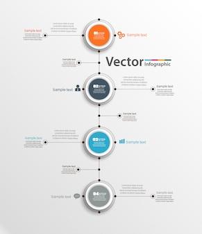 Plantilla de infografía abstracta con cuatro pasos para el éxito