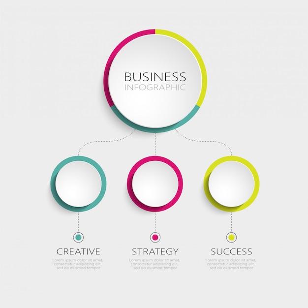 Plantilla de infografía abstracta d con 3 pasos para el éxito