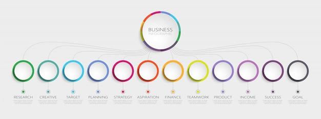 Plantilla de infografía abstracta d con pasos para el éxito