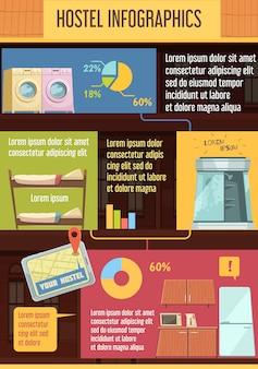 Plantilla de infografía de albergue con elementos.
