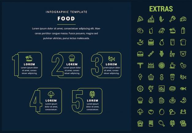 Plantilla de infografía de alimentos, elementos e iconos