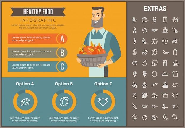 Plantilla de infografía de alimentos saludables, elementos, iconos