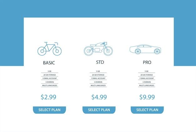Plantilla de infografía de banners de plan de precios