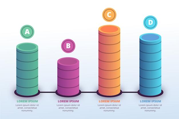 Plantilla de infografía barras 3d