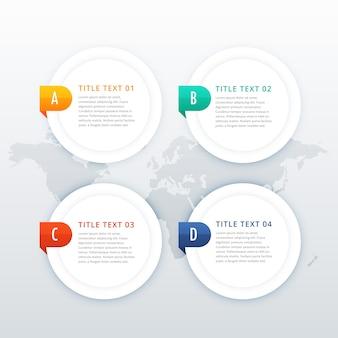 Plantilla de infografía blanco de cuatro opciones