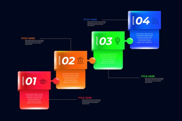 Plantilla de infografía brillante 3d